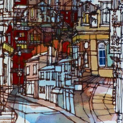 mixed media townscapes