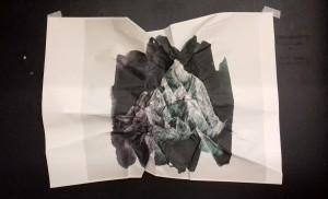 A1 crumpled and folded digital print