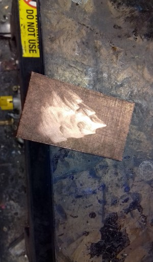 the copper plate heating before inking