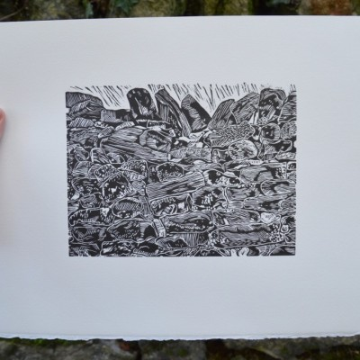 Dry stone wall & Hawthorn hedgerow Lino cuts